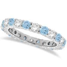 aquamarine and diamond ring aquamarine diamond eternity ring band 14k white gold 1 07ct