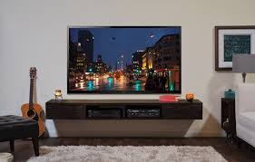 Furniture For Lcd Tv Black Wooden Wall Mounted Tv Shelves Connected By Large Lcd Tv On