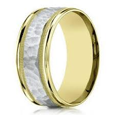 hammered gold wedding band 8mm men s two tone 14k yellow gold hammered center wedding ring