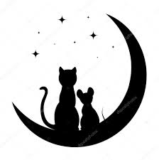 cat and mouse sitting on the moon stock vector matc