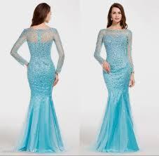 Light Blue Mermaid Dress Long Sleeve Light Blue Prom Dress Naf Dresses