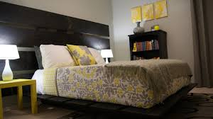 simple gray and yellow bedroom theme color with nice diy pendant