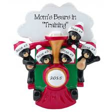 black bears in family of 5 personalized ornament this