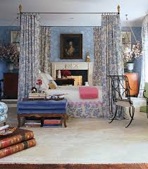 Traditional Master Bedroom - traditional master bedroom in floral blue interiors by color