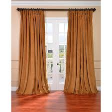 Single Blackout Curtain Exclusive Fabrics Amber Gold Velvet Blackout Extra Wide Curtain