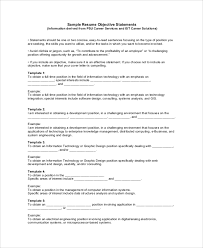 Sample Resume Objective Sentences by Sample Objective On Resume 8 Examples In Word Pdf
