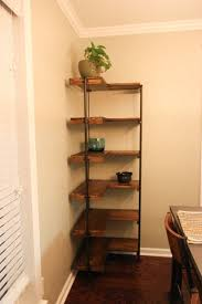 shelf floor l with l shaped copper frame corner shelf with brown wooden racks attched