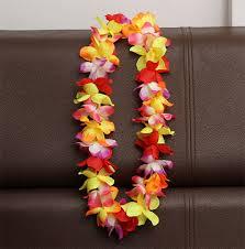Polyester Flowers - plastic hawaii leis polyester flower lei hawaii flower garland