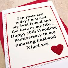 10 year wedding anniversary gift personalised 10th wedding anniversary card by arnott cards