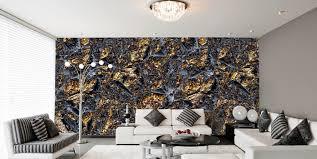 schlafzimmer tapeten schwarze farbe barock muster eshara trendige