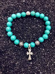 bead bracelet with cross images Chrome hearts beads turquoise bead bracelet cross pendant jpg