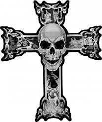 skulls in grey smoke cross patch skull back patches