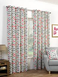 Geometric Orange Curtains Neo Eyelet Curtains In Greyred Free Uk Delivery Terrys Fabrics