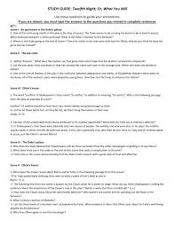 study guide twelfth night short version