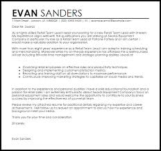 retail team leader cover letter sample livecareer
