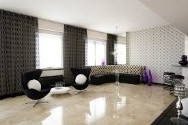 living room marble floor round glass table accent black curtain