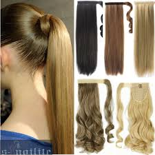 Q78 Clips by 100 Real Thick Clip In As Human Hair Extensions Pony Tail Wrap On