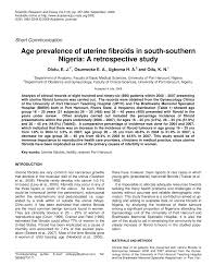 age prevalence of uterine fibroids in south southern nigeria a