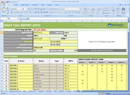 Sales Call Report Template Excel by Free Dcr Format For Pharma Daily Mr Reporting Activity