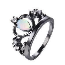 black gold wedding rings white opal princess crown wedding ring 10kt black gold filled