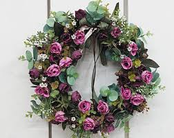 rose wreath etsy