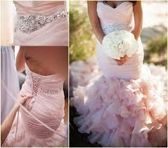 2017 blush pink mermaid wedding dresses ruched ruffles train lace