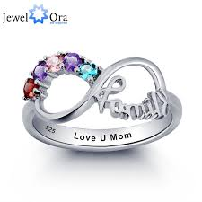 personalized engrave birthstone infinity family jewelry cubic