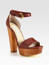 stella mccartney faux leather and wooden platform sandals in brown