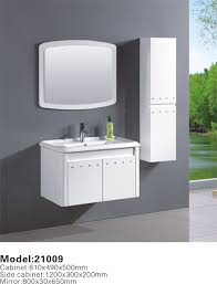 Pvc Vanity Double Basin Standed Floor White Painted Pvc Bathroom Vanity With