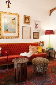 Living Room With Red Sofa by