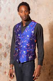 silk waistcoat men african cobalt wedding dress from shibumi