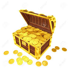 treasure chest filled with gold coins stock photo picture and