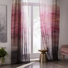 Ombre Sheer Curtains Sheer Cotton Painted Ombre Curtains Set Of 2 Dusty Blush