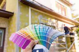 color palette catalog with design paint samples stock photo