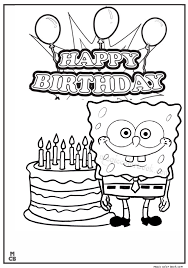 happy birthday sponge bob coloring mewarnai