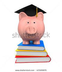graduation piggy bank saving education represented by graduation school stock