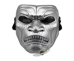 silver mask warrior airsoft mesh mask silver