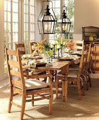 Dining Room Hanging Lights Country Dining Room Created With Wooden Furniture And Hanging