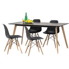 Scandi Dining Table Black Scandi Dining Table Set With 4 Black Replica Eames Chairs