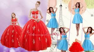 sweetheart ball gown red quinceanera gown and v neck beading short