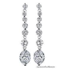 dangle diamond earrings fancy oval cut dangle cz diamond chandelier drop earrings
