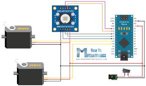 arduino color sorting machine circuit schematic howtomechatronics