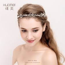 bridal headband handmade gold floral leaf wedding headpiece bridal
