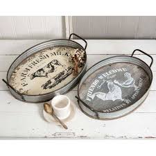 two farmhouse set of two farmhouse oval serving trays sweetcountrystyle com