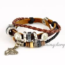 charm bracelet leather images Butterfly leather bracelets wholesale leather wrap bracelet charm jpg