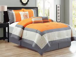 Damask Comforter Sets 7 Pc Corey Pleated Square Border Damask Comforter Set King Orange