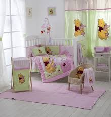 beautiful girls bedding white wooden cradles with pink green winnie the pooh bedding set