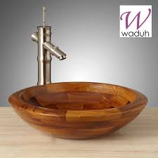 teak wooden bathroom vessel sink cruz