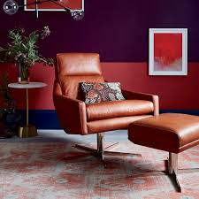 swivel leather chairs living room austin leather swivel armchair west elm