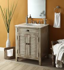 rustic distressed wooden vanity stand in white finished having